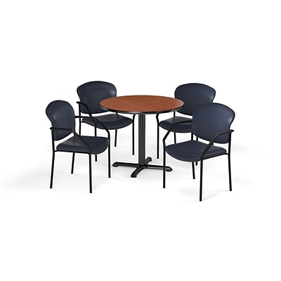 OFM  36 Round Laminate MultiPurpose XSeries Table & 4 Chairs, Cherry Table/Navy Chair PKGBRK1440004