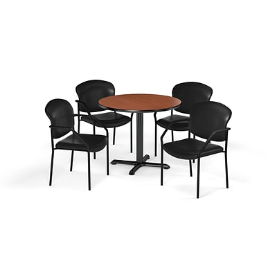OFM  42 Round Laminate MultiPurpose XSeries Table & 4 Chairs, Cherry/Black Chair PKGBRK1560005