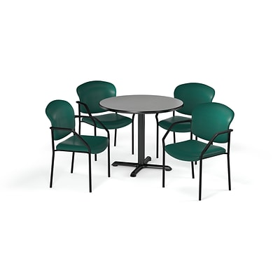 OFM  36 Round Laminate MultiPurpose XSeries Table & 4 Chairs, Teal Table/Teal Chair (PKGBRK1440006)