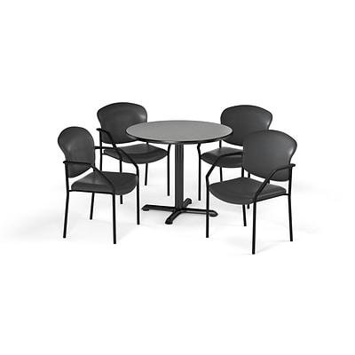 OFM 42 Round Laminate MultiPurpose XSeries Table & 4 Chairs, Gray Table/Wine Chair (PKGBRK1560008)