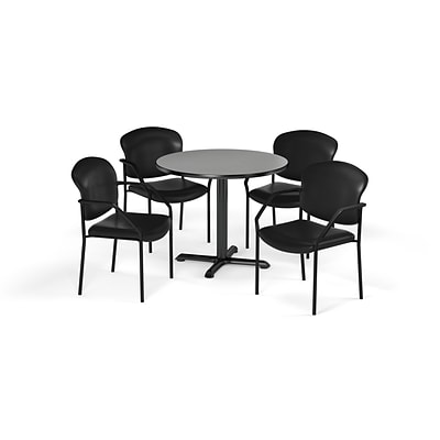 OFM  42 Round Laminate MultiPurpose XSeries Table & 4 Chairs, Gray Table/Black Chair PKGBRK1560010