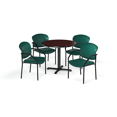 OFM  36 Round Laminate MultiPurpose XSeries Table & 4 Chairs, Mahogany/Teal Chair PKGBRK1440011