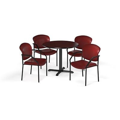 OFM 36 Round Laminate MultiPurpose XSeries Table & 4 Chairs, Mahogany/Wine Chair PKGBRK1440012