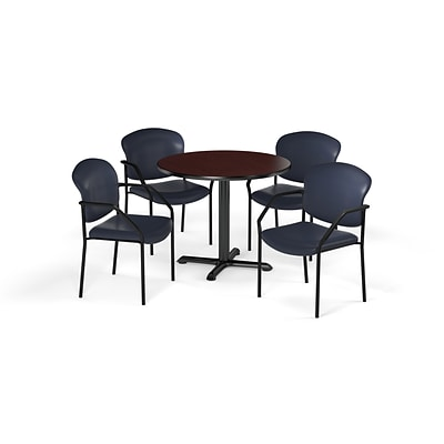 OFM 42 Round Laminate MultiPurpose XSeries Table & 4 Chairs, Mahogany/Navy Chair PKGBRK1560014