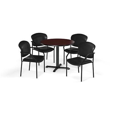 OFM  36 Round Laminate MultiPurpose XSeries Table & 4 Chairs, Mahogany/Black Chair PKGBRK1440015