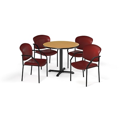 OFM  42 Round Laminate MultiPurpose XSeries Table & 4 Chairs, Oak Table/Wine Chair (PKGBRK1560017)