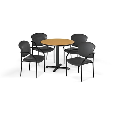 OFM 42 Round Laminate MultiPurpose XSeries Table & 4 Chairs, Table/Chocolate Chairs (PKGBRK1560018)