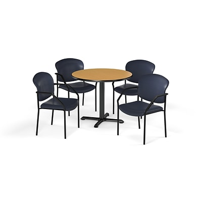 OFM  42 Round Laminate MultiPurpose XSeries Table & 4 Chairs, Oak Table/Navy Chair (PKGBRK1560019)