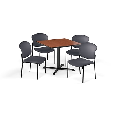 OFM  42 Sq Laminate MultiPurpose XSeries Table & 4 Chairs, Cherry Table/Gray Chair (PKGBRK1630001)