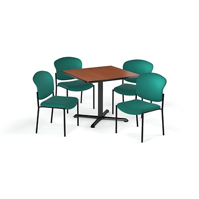 OFM 42 Sq Laminate MultiPurpose XSeries Table & 4 Chairs, Cherry Table/Teal Chair (PKGBRK1630002)