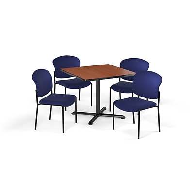 OFM 36 Square Laminate MultiPurpose XSeries Table & 4 Chairs, Cherry Table/Navy Chair PKGBRK1510004
