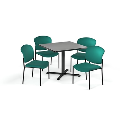 OFM 36 Square Laminate MultiPurpose XSeries Table & 4 Chairs, Gray Table/Teal Chair (PKGBRK1510007)