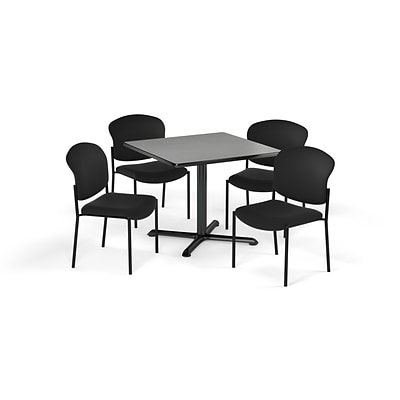 OFM 36 Square Laminate MultiPurpose XSeries Table & 4 Chairs, Gray Table/Black Chair PKGBRK1510010