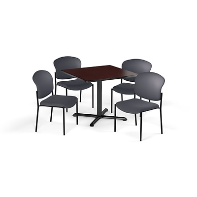 OFM  42 Sq Laminate MultiPurpose XSeries Table & 4 Chairs, Mahogany Table/Gray Chair PKGBRK1630011