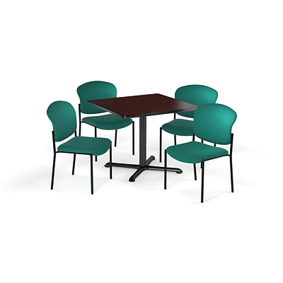 OFM 36 Sq Laminate MultiPurpose XSeries Table & 4 Chairs, Mahogany Table/Teal Chair (PKGBRK1510012)