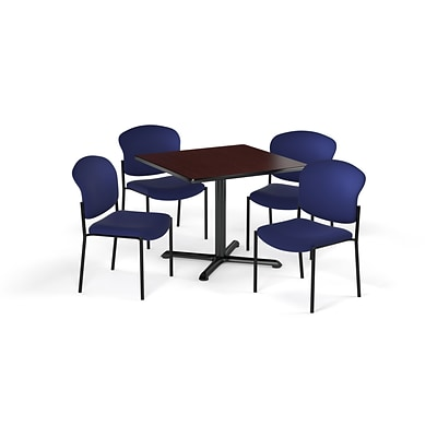 OFM 36 Sq Laminate MultiPurpose XSeries Table & 4 Chairs, Mahogany Table/Navy Chair (PKGBRK1510014)