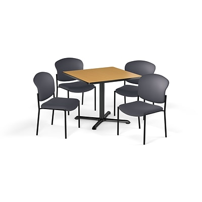 OFM  42 Square Laminate MultiPurpose X-Series Table & 4 Chairs, Table/Gray Chair (PKG-BRK-163-0016)