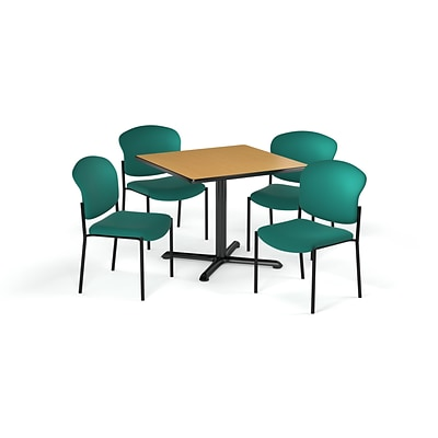 OFM 36 Square Laminate MultiPurpose XSeries Table & 4 Chairs, Oak Table/Teal Chair (PKGBRK1510017)