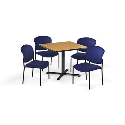 OFM 36 Square Laminate MultiPurpose XSeries Table & 4 Chairs, Oak Table/Navy Chair (PKGBRK1510019)