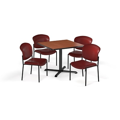 OFM 42 Square Laminate MultiPurpose XSeries Table & 4 Chairs, Cherry Table/Teal Chair PKGBRK1640002