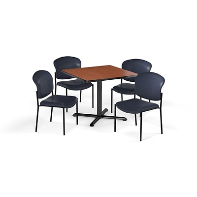 OFM  36 Sq Laminate MultiPurpose XSeries Table & 4 Chairs, Cherry Table/Navy Chair (PKGBRK1520004)