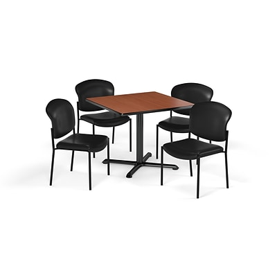 OFM  42 Sq Laminate MultiPurpose XSeries Table & 4 Chairs, Cherry Table/Black Chair (PKGBRK1640005)