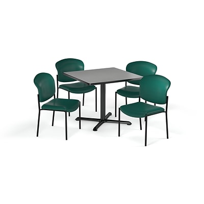 OFM 42 Square Laminate MultiPurpose XSeries Table & 4 Chairs, Gray Table/Gray Chair (PKGBRK1640006)