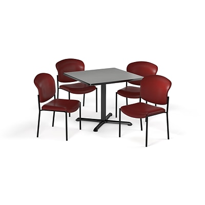 OFM 36 Square Laminate MultiPurpose XSeries Table & 4 Chairs, Gray Table/Teal Chair (PKGBRK1520007)