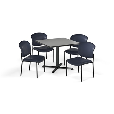 OFM  42 Square Laminate MultiPurpose XSeries Table & 4 Chairs, Gray Table/Navy Chair PKGBRK1640009