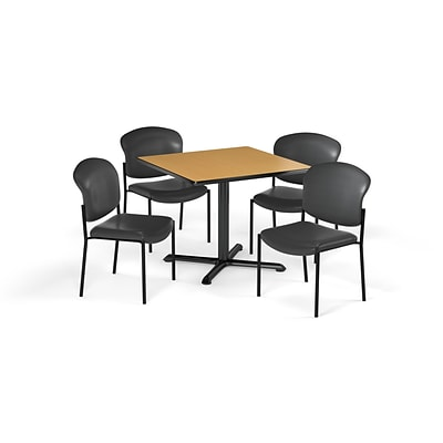 OFM 36 Square Laminate MultiPurpose XSeries Table & 4 Chairs, Oak Table/Wine Chair (PKGBRK1520018)