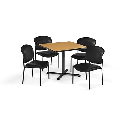 OFM 36 Square Laminate Multi-Purpose X-Series Table & 4 Chairs, Table/Black Chair PKG-BRK-152-0020
