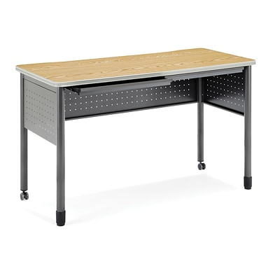 OFM Mesa Series Standing Height Training Table/Desk with Drawers 27.75 x 55.25, Oak (66141-OAK)