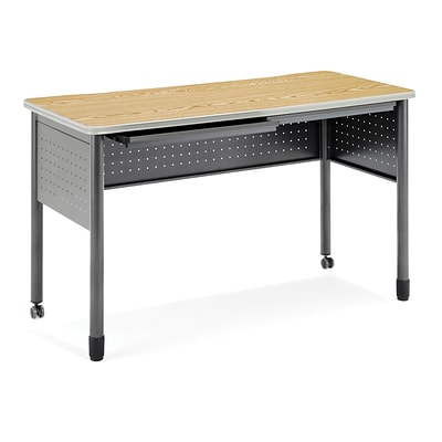 OFM Mesa Series Standing Height Training Table/Desk with Drawers 27.75 x 59.25, Oak (66151-OAK)