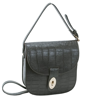 MAYA Grey Textured Faux Leather Crossbody Bag (11143)