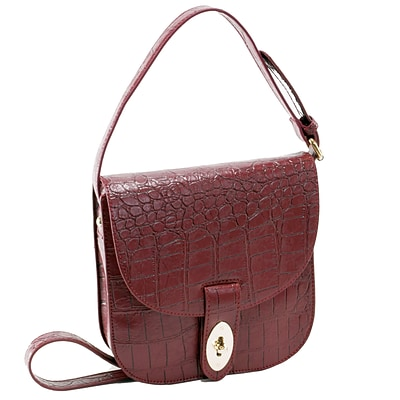 MAYA Red Textured Faux Leather Crossbody Bag (11146)