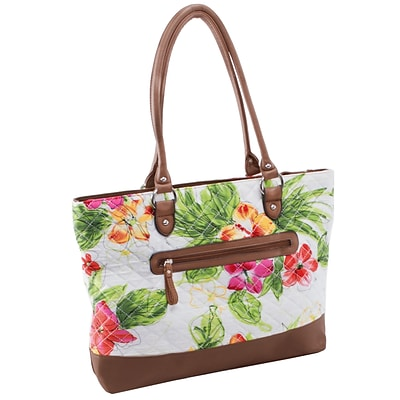 ALLIE White Floral Quilted Fabric with Croco Faux Leather Tote (11167)