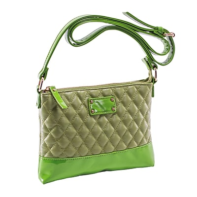 CARA Green Quilted Faux Leather Crossbody Bag (11201)