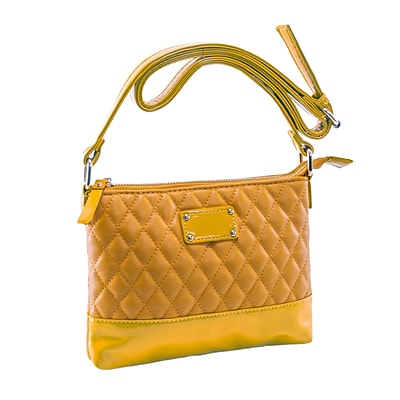 CARA Mustard Tan Quilted Faux Leather Crossbody Bag (11204)