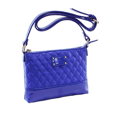 CARA Blue Quilted Faux Leather Crossbody Bag (11208)