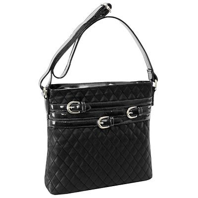 CLARICE Black Quilted Multi Belt Adorned Vertical Crossbody (11275)