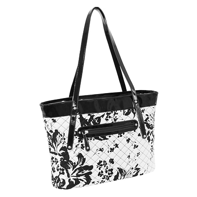 FIONA Black & White Quilted Carry All Tote (11280)