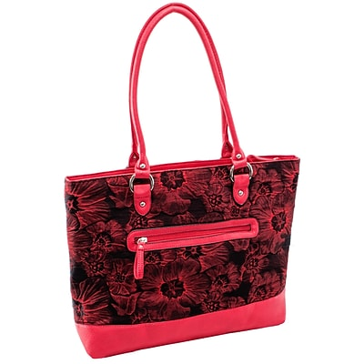 Aaryn Red Floral Quilted Fabric with Faux Leather Tote (11326)