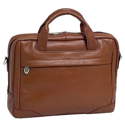 McKlein S Series, BRIDGEPORT, Pebble Grain Calfskin Leather, Large Laptop Briefcase, Brown (15474)