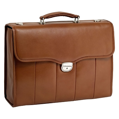 NORTH PARK Brown 15.6 Leather Executive Briefcase (46554)