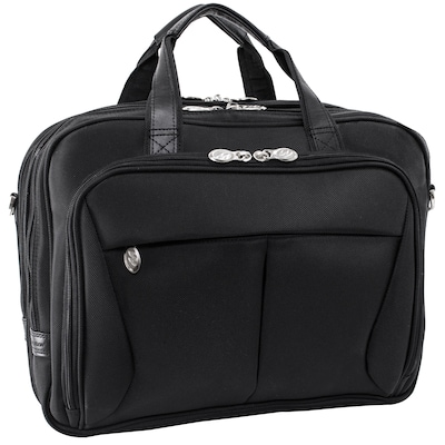 "PEARSON Black 17"" Expandable Double Compartment Briefcase"