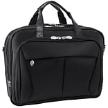 McKlein Pearson Expandable Double Compartment Laptop Briefcase, Tech-Lite Ballistic Nylon, Black (74