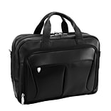 McKlein R Series, PEARSON, Top Grain Cowhide Leather,Expandable Double Compartment Laptop Briefcase,