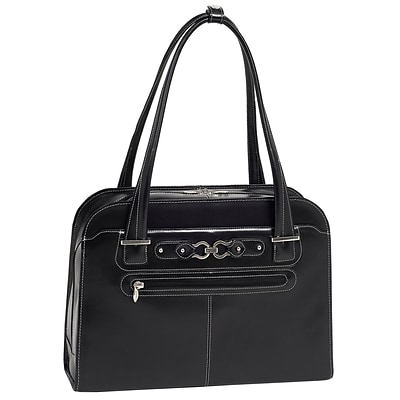 McKlein W Series, OAK GROVE, Genuine Cowhide Leather, Fly-Through Checkpoint-Friendly Ladies Laptop Briefcase, Black (96635)