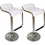 Mod Made Adjustable Height Bar Stool with Cushion (Set of 2); White
