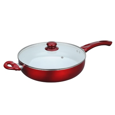 Alpine Cuisine 11 Ceramic Deep Fry Pan with Glass Lid; Red (KAAI17823)